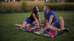 Счастливые молодые пары имея потеху на пикнике сток-видео
