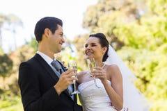 Счастливые новобрачные провозглашать каннелюры шампанского на парке Стоковые Изображения RF