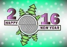 Счастливые Новый Год и шар для игры в гольф иллюстрация штока