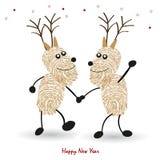 Счастливые олени вожжи поздравительной открытки Нового Года с вектором отпечатков пальцев Стоковое Изображение
