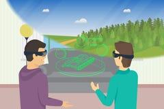 Счастливые парни играют видеоигру используя голов-установленный прибор для увеличенный и виртуальная реальность иллюстрация штока