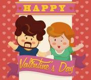 Счастливые пары В-влюбленности держа их руки с лентами валентинки, иллюстрацией вектора Стоковые Изображения