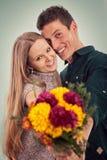 Счастливые пары в влюбленности, дне валентинок Стоковые Изображения RF