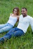 Счастливые пары лежа на траве в поле стоковое изображение