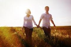 Счастливые пары держа руки идя через луг, подкрашиванное фото стоковое изображение rf