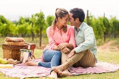 Счастливые пары ослабляя на одеяле стоковая фотография