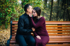 Счастливые пары представляя в парке стоковые изображения