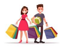 Счастливые пары семьи с покупками женщина человека мешков развилки бесплатная иллюстрация