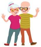 Счастливые пары старшиев экономно расходуют и жена стоя в объятии Стоковая Фотография RF