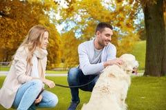 Счастливые пары с labrador выслеживают идти в город Стоковое Фото