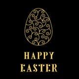 Счастливые пасхальные яйца неоновые на черноте Стоковое Изображение