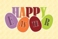 Счастливые пасхальные яйца с текстом Стоковая Фотография RF