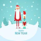 Счастливые петух и Санта Клаус Нового Года Плоская иллюстрация вектора Стоковое Фото