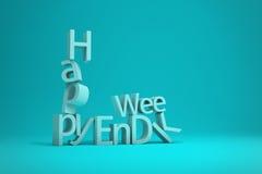 Счастливые письма рушась 3D слова выходных представляют иллюстрацию Стоковые Изображения