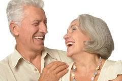 Счастливые пожилые женщина и человек стоковое изображение