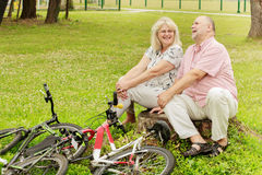 Счастливые пожилые пары ослабляя Стоковая Фотография