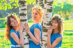 Счастливые подруги в венке цветков Стоковое Фото
