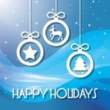 Счастливые праздники и с Рождеством Христовым рождественская открытка бесплатная иллюстрация
