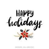 счастливые праздники Каллиграфия рождества бесплатная иллюстрация
