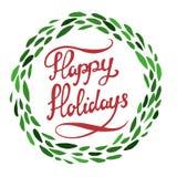 счастливые праздники Литерность нарисованная рукой при зеленый изолированный венок бесплатная иллюстрация
