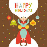 Счастливые праздники. Поздравительная открытка с красивой девушкой Бесплатная Иллюстрация