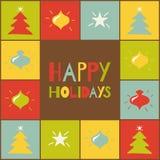 Счастливые праздники. Поздравительная открытка с покрашенным элементом Иллюстрация штока