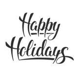 Счастливые праздники, современная изолированная каллиграфия щетки чернил иллюстрация штока