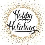 Счастливые праздники, современная каллиграфия щетки чернил с золотой рамкой иллюстрация вектора