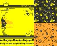 Счастливые предпосылки хеллоуина и striped элементы для дизайна Стоковое Изображение RF