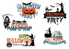 Счастливые плакаты и знамена хеллоуина Стоковое Изображение RF