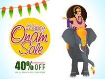 Счастливые плакат, знамя или рогулька продажи Onam Стоковая Фотография RF