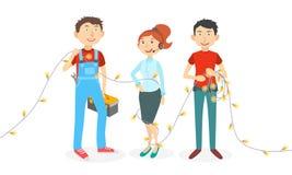 Счастливые работники шаржа Стоковые Изображения