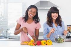 Счастливые друзья подготавливая салат совместно Стоковое Фото