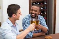 Счастливые друзья провозглашать стекла пива Стоковые Фото