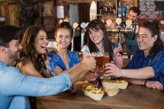 Счастливые друзья провозглашать стекла пива Стоковая Фотография