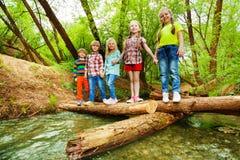 Счастливые друзья стоя держащ руки на мосте журнала Стоковые Фотографии RF