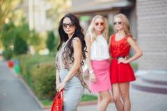 Счастливые друзья с хозяйственными сумками готовыми к ходить по магазинам Стоковые Изображения RF