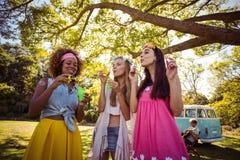Счастливые друзья дуя пузыри от палочки пузыря в парке Стоковое Фото