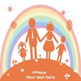 Счастливые семья и радуга также вектор иллюстрации притяжки corel Стоковая Фотография RF