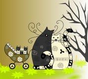 Счастливые семья, кот, кот и котята в кресло-коляске Стоковые Изображения