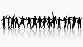 счастливые силуэты людей Стоковая Фотография RF