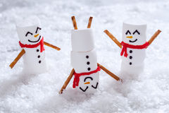 Счастливые смешные snowmans зефира на снеге Стоковые Изображения