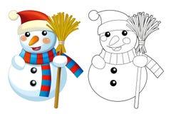 Счастливые снеговики шаржа - усмехающся и наблюдающ - при изолированная страница расцветки - Стоковые Изображения RF