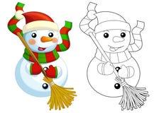 Счастливые снеговики шаржа - усмехающся и наблюдающ - при изолированная страница расцветки - Стоковое Фото