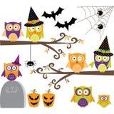 Счастливые собрания сычей хеллоуина Стоковые Изображения RF