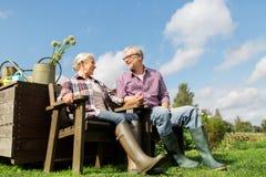 Счастливые старшие пары на ферме лета стоковое фото rf