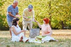 Счастливые старшии на парке стоковые изображения