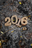 Счастливые стиль номеров Нового Года 2016 деревянный Стоковые Изображения RF