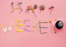 Счастливые слова выходных на розовой деревянной предпосылке Иллюстрация вектора