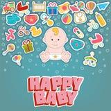 Счастливые установленные значки младенца также вектор иллюстрации притяжки corel иллюстрация вектора